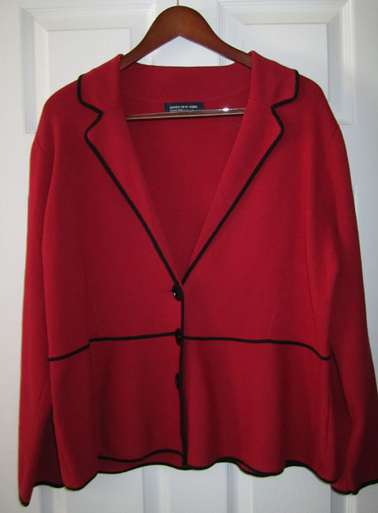 Red jacket with black trim