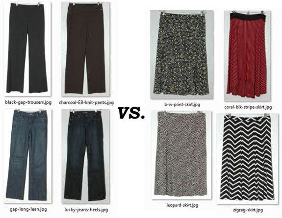My pants vs. my skirts