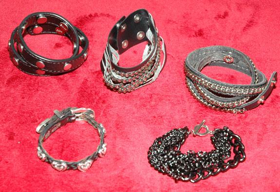 Black and silver bracelets