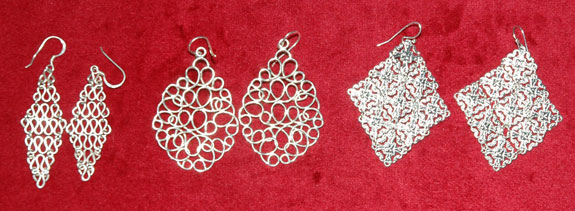 Silver lattice-style earrings