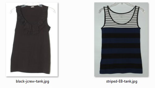 Shortened tank tops