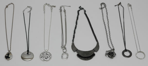 Silver and gunmetal short necklaces