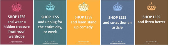 Shop Less and Live More postcard examples