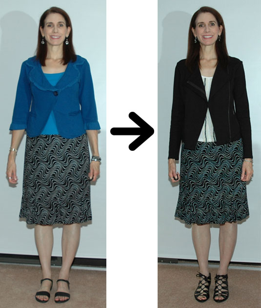 Polka dot skirt outfit restyle