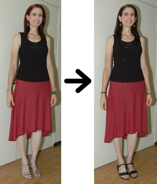 Striped skirt shoe swap