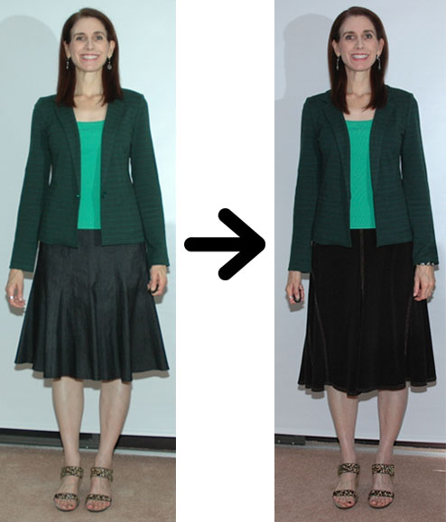 Tonal green outfit restyled
