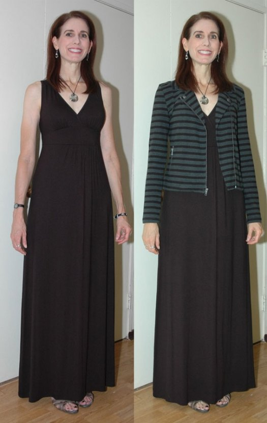 Black maxi-dress outfit