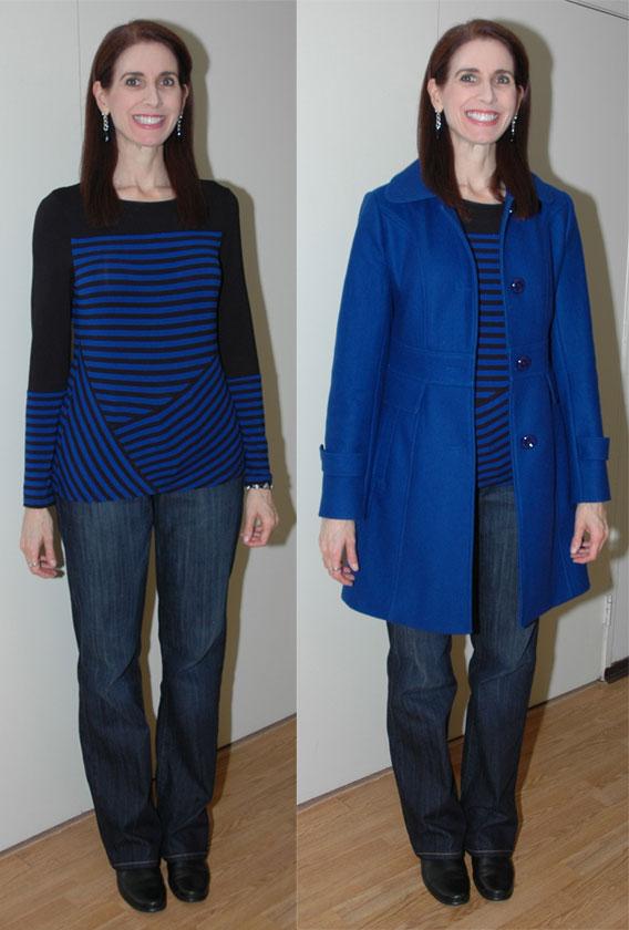 Cobalt coat outfit