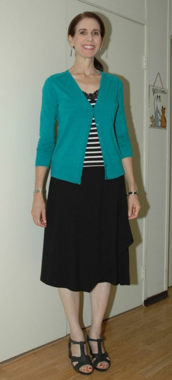 Green cardi skirt outfit