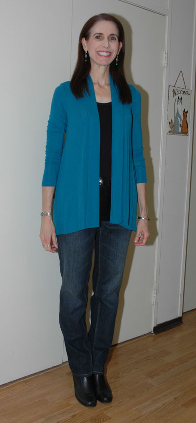 Teal cardigan outfit