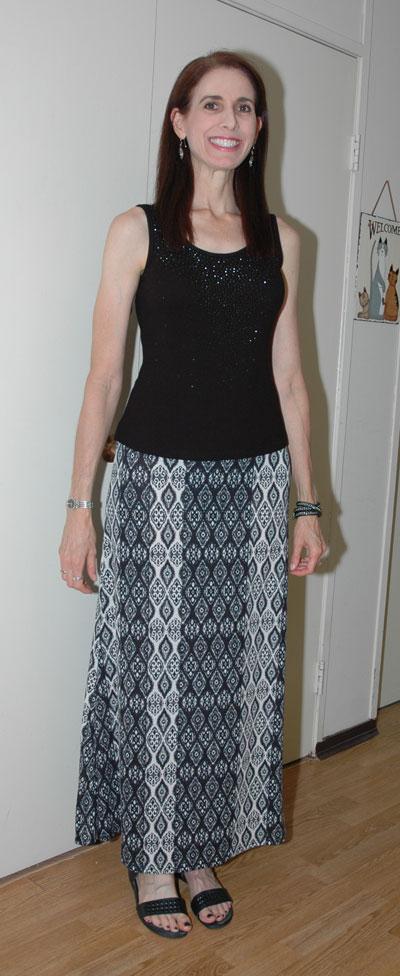 Black print maxi-skirt