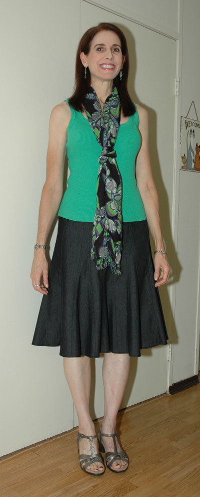 Green tank with denim skirt