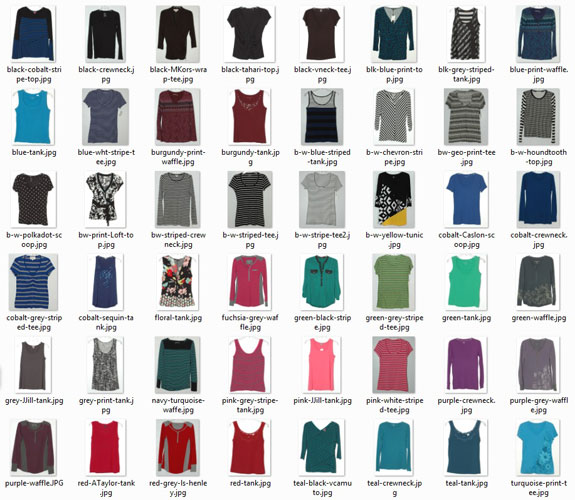 June 2015 working closet - tops