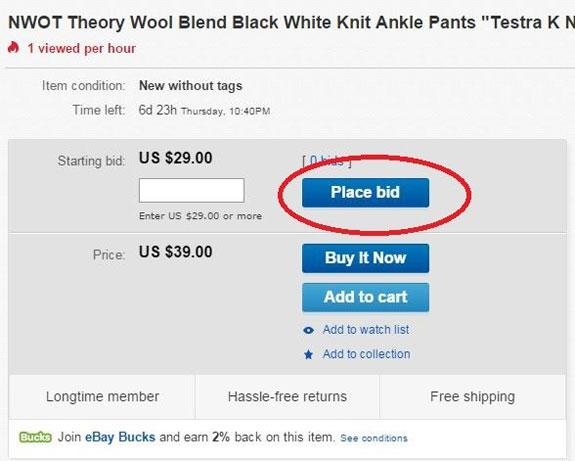 eBay automated bid system