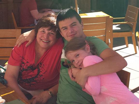 My mom with my niece and nephew