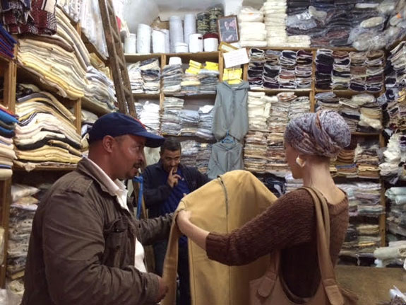 Shopping for clothes at a souk in Marrakesh
