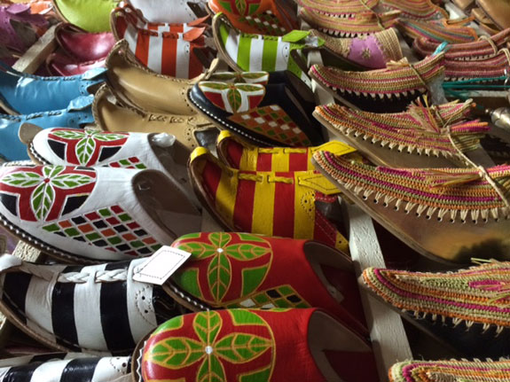 shoes in a Marrakesh souk