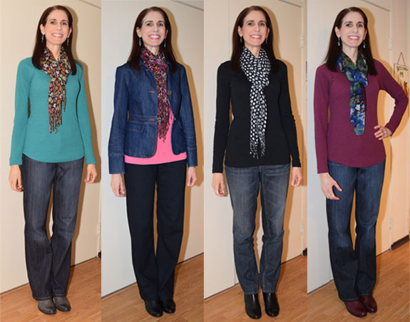 solid tops with scarves outfits