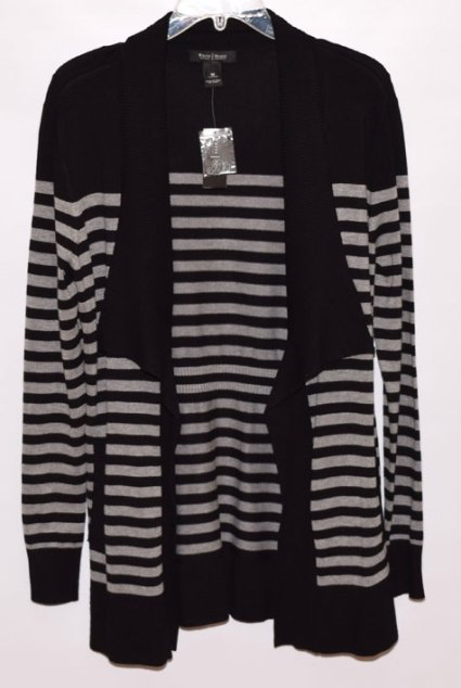 black and grey striped cardi