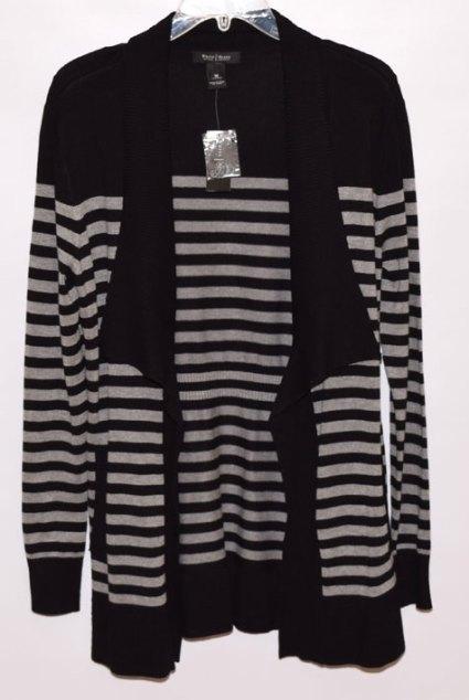 black and grey striped cardi