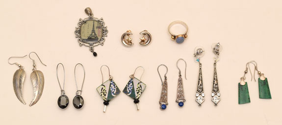 purged earrings and other items