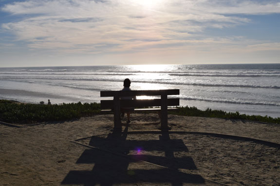Overlooking the beach in Del Mar, California