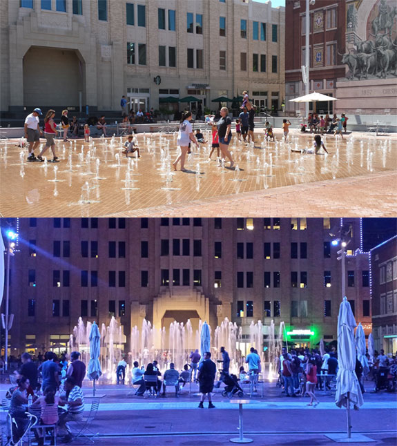 Sundance Square Plaza Day and Night