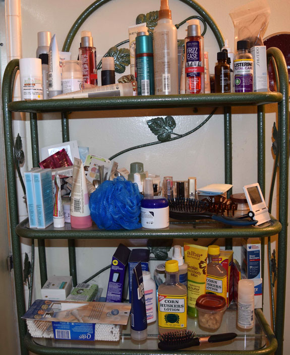Bathroom shelves before