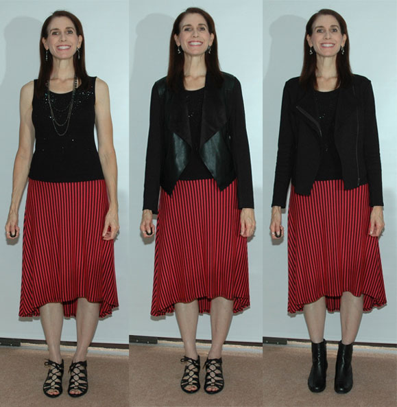 More new looks with the striped skirt